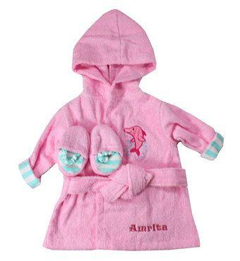 Embroidered Pink or Blue Sea Side Bathrobe/Slipper Set