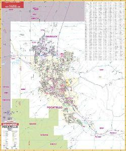 Pocatello Zip Code Map.Pocatello Idaho Wall Map
