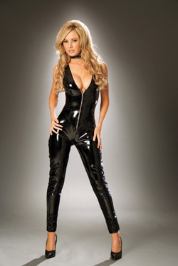 cat suit with zipper front
