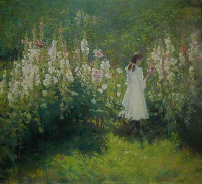Girl Among the Hollyhocks by James Hafen