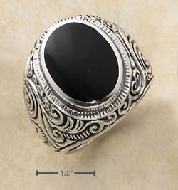 Sterling Silver Black Onyx Male Ring